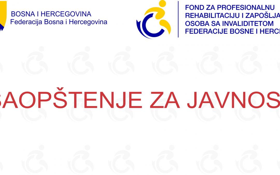 Podrškom Fonda po prvom javnom pozivu u 2018. godini omogućeno uposlenje 523 osobe sa invaliditetom