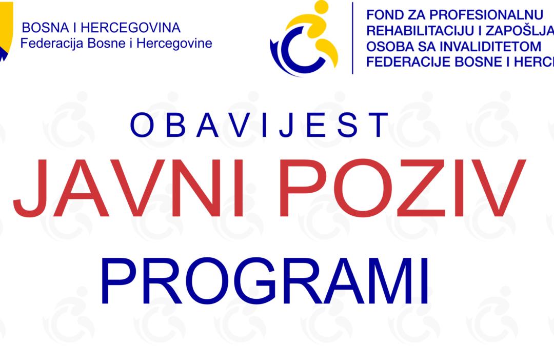 JAVNI POZIV za dodjelu sredstava za programe u 2021. godini